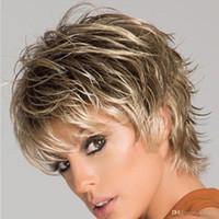 peluca blanca envío gratis al por mayor-Venta caliente euro-americana del pelo femenino del pelo corto peluca sintética rizada para las mujeres blancas negras envío gratis
