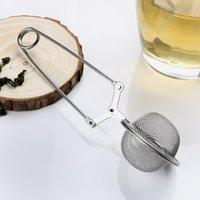 ingrosso sfere di maglia metallica-In acciaio inox palla infusore filtro in metallo sfera della maglia bustina di tè teiera setaccio del tè caffè erba spezia diffusore cucchiaino tè strumento con manico