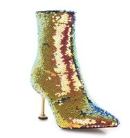 kristall verzierte hochzeit schuhe großhandel-Neueste Sequin Stiefeletten Frau Regenbogen Farbe Glitter Glänzende Damen Schuhe 8,5 CM Ferse Verzierte Kristalle Party Hochzeit Schuh