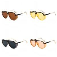 gelbe uv-sonnenbrille großhandel-Seaside Sandy Beach Sonnenbrillen Bonbonfarben Brillen Sonnencreme Brillen UV-Beweis Marine Film Rosa Gelb Kunststoffrahmen 10 gb C1