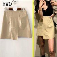 ca7692fed7 [EWQ] 2019 spring new Korean style Pu bright leather a word irregular high  waist hip fashion trend women's summer skirt QG13400