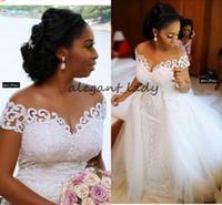 vestidos de encaje nigeriano más el tamaño al por mayor-Apliques de encaje Sirena Vestidos de novia con tren desmontable 2019 Talla grande en el hombro Vestido de boda de la Iglesia de Nigeria de África