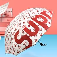 handgemachte spitze freies verschiffen großhandel-Street Fashion gedruckt schwarz Caoting Umbrellas Sonnenschirm Sonnenschutz sonnig und regnerisch Unbrella Unisex 6 Farben wählbar