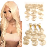 Wholesale wave hair blond for sale - Group buy 613 body wave hair with lace frontal brazilian human hair bundles with frontal blond straight human hair