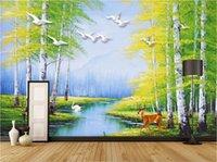 трехмерные обои оптовых-3d комната обои на заказ фото нетканые росписи европейская трехмерная картина маслом лебединое озеро лесной лось росписи обоев для стен 3 d