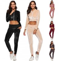 Wholesale standing collar coat pant for sale - Velvet long sleeve sportswear Set Cardigan Zipper Casual sweater colorful Coat trousers outdoors sports Women sports equipment LJJQ124