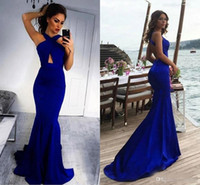 Wholesale simple black floor length dresses for sale - Group buy Sexy Royal Blue Mermaid Bridesmaid Dresses Backless Satin Simple Keyhole neck Long Prom Dress Sweep Train Party Gowns