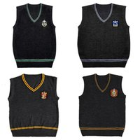 Wholesale harry potter women costume online - Harry Potter Sweater V neck Vest Magic School Waistcoat Slytherin Gryffindor Ravenclaw Cosplay Costume Clothing Men Women Uniform Sweater