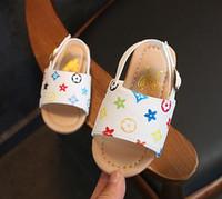 bebek açık ayakkabılar toptan satış-Yaz Çocuk Sandalet Parti Kız Bebek Toddler Ayakkabı Çocuklar Için Aile Deri Plaj Küçük Kızlar Açık Toe Düz kaymaz