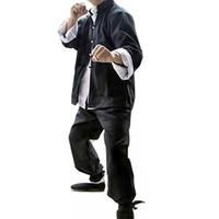 artes masculinas venda por atacado-3 PCS Mens Brucelee Kung Fu Terno Chinês Traditonal Vestuário Wing Chun Artes Marciais Use Uniforme de Treinamento Masculino Conjuntos de Manga Longa