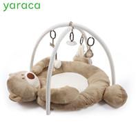 детские игрушки для мальчика оптовых-Развивающий Коврик Для Новорожденных Детей Playmat Baby Gym Toys Развивающие Музыкальные Коврики С Рамкой Висячие Погремушки Зеркало Q190531