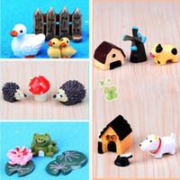 ingrosso ornamenti da giardino animale-3pcs / set Resin Garden Decorations Fairy Garden Miniature Figura carina Artigianato animali Mini paesaggio Ornamento