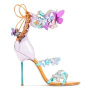 Wholesale free shoe ornaments online - Ladies leather patent high heel solid butterfly ornaments Sophia Webster Multi open toe SANDALS SHOES