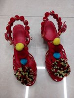Wholesale solid colored shoes resale online - Lucky2019 Genuine Leather Coarse Sandals Special shaped Spelling Colored Hair Ball Crystal A String Of Beads High heeled Shoes Woman