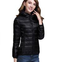 kore palto satışı toptan satış-Popüler Satış! Koreli Kadın Ultra Hafif Puffer Ceket Katı Kapşonlu Fermuarlar Puffer Coat Aşağı jacketComfortbal ÜST Rahat