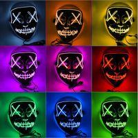 havalı erkek ışıkları toptan satış-Cadılar Bayramı Maskesi LED, Işık Up (Pil olmadan) Erkek Kadın Kız Boys Serin Kostüm Festivali Taraflar için EL Tel Cosplay Korkunç Maske
