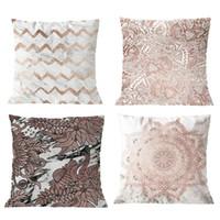 свиные подушки оптовых-Геометрические листья наволочки короткие плюшевые наволочки 45см х 45см набор из 4шт розовый + свинья песок наволочка