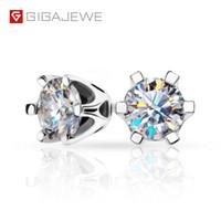 Wholesale moissanite carat earrings resale online - GIGAJEWE Silver Plated K Earrings Round Cut ct Carats DEF White Color Moissanite Earrings VVS1 Excellent Cut