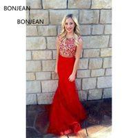vestido largo rojo de lujo al por mayor-Vestidos de baile Vestidos baratos Vestidos de fiesta Red Beaded Brush Brush Lentejuelas Vestido de noche largo formal de lujo 2019