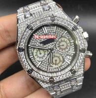 grandes relojes de cuarzo diamante acero inoxidable al por mayor-Reloj de pulsera de diamantes de hielo para hombre Reloj de movimiento de cuarzo multifunción Reloj de correa de diamante grande plateado Relojes de caja de acero inoxidable