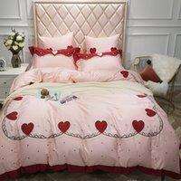 set de colcha rosa al por mayor-en forma de corazón popular de la cubierta del edredón bordado rosado de la princesa del lecho de algodón puro 4pcs Envío libre caliente chicas favoritas Bedsheet