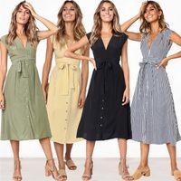 Wholesale girls yellow striped dress resale online - Fashion Girl Spring summer V neck button print stripe waist strap Bow Ribbon Sleeveless Brief Leisure Sister dress