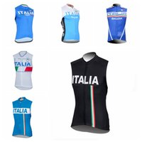 Wholesale italy cycling jersey resale online - ITALY team Summer outdoors Mens Cycling Jersey Sleeveless Vest Cycle Bike Riding Breathable Quick drying Tops Q71633