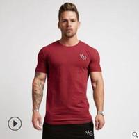 camisa desportiva seca venda por atacado-Esporte casual T Shirt Dos Homens de Algodão Dry Fit Ginásio Treinamento Tshirt Homens Rashgard Correndo Camisa Sportswear Musculação Camisa de Fitness Top