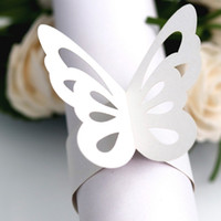 Wholesale wedding butterfly napkin holders online - White Pink Butterfly Napkin Ring Colors Serviette Paper Holder Wedding Party Banquet Table Decoration Pieces ePacket