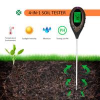termómetro de humedad al por mayor-4 en 1 Planta Flores Suelo PH Humedad Luz Medidor del suelo Temperatura Termómetro Instrumento de estudio del suelo Probador de intensidad de luz solar