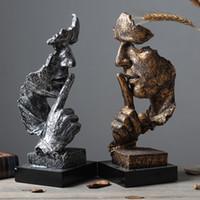 ingrosso decorazione artigianale-Scultura astratta Figurine Ornamenti Silence Is Gold Office Home Decoration Accessori Arte moderna Decorazione in resina Artigianato