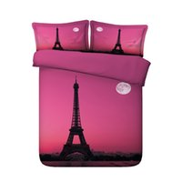 Wholesale beds queen pink for sale - Pink bedspread Paris Eiffel Tower Theme Duvet Cover Set Pieces Girls Comforter Cover Bed Set Bedclothes Bedspread French Style Stylish