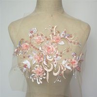Wholesale embroidery trim patches resale online - Baby Pink Fabric D Flowers Beads Appliques Embroidery Lace Trims Mesh Sew On Patch For Wedding Evening Dress Decoration DIY
