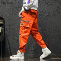 moda de rua coreana para homens venda por atacado-Calças Dos Homens Outono Moda Bolsos de Lazer Todo o Jogo Harajuku Carga Calça Tamanho Grande Coreano Street Wear Hip Hop Trosuers Chic