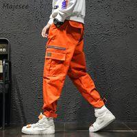 erkekler için korece sokak modası toptan satış-Pantolon Erkek Güz Moda Cepler Eğlence Tüm Maç Harajuku Kargo Pantolon Erkekler Büyük Boy Kore Sokak Giyim Hip Hop Trosuers Chic