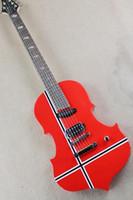 keman beyaz toptan satış-Sıradışı Kırmızı Elektro Gitar Şekli Siyah ve Beyaz Çizgili Desen, Gövde Keman Stil, 27 Perde