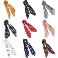 saç bandı kravat tutacağı toptan satış-1 ADET Puanl Tasarım Şifon Kumaş Saç Toka At Kuyruğu Tutucu Saç bağları Sakız Bantları Büyük Uzun yay