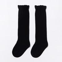 цветные детские летние носки оптовых-Детские хлопчатобумажные носки с высокой трубкой и волнистыми носками сплошного цвета по колено в чулках весной и летом детские носки