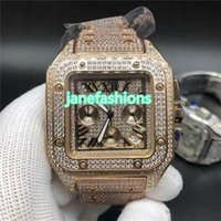 Wholesale ice batteries for sale - Group buy Rose Gold Iced Diamond Men s Watch Square Fashion Hot Sale Popular Watch Quartz Men s Chronograph Watch