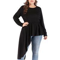 Wholesale big sizes womens clothing online - 2019 Fashion Womens Plus Size Irregular Hem Tshirt Fashion O Neck Cotton Solid Tops Shirt Big Size Blusas Mujer De Moda Clothes