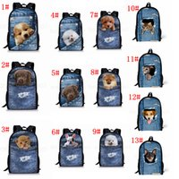 Wholesale denim school bag resale online - 13Styles Pocket pet D denim backpack Cat dog animals printed backpack school bag student teenager Storage Organizer shoulder bags FFA2816
