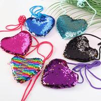 ingrosso cordicella per bambini-nuova borsa a tracolla a forma di cuore con laccetto paillettes borsa piccola borsa portatile per bambini borsa da donna portafoglio zero Zero T2D5037