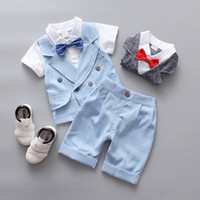 Wholesale christmas party clothing online - Boys designer clothes set short sleeve V neck shirt shorts pants baby boy formal suit kids casual outfits birthday party gifts