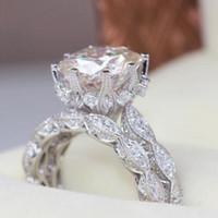 conjuntos de casamento venda por atacado-2 pçs / set anel de noivado de casamento do vintage conjunto para as mulheres 3ct simulado diamante cz 925 prata partido feminino anel