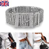 cinturones de diamantes de imitación de las señoras al por mayor-Mujer de plata Rhinestone lleno Diamante de las señoras de la cintura del diamante de la correa de la correa de accesorios de moda Casual Un tamaño para adultos