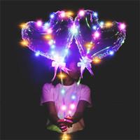 luces de cadena led en forma de corazón al por mayor-LED Parpadea Bobo Globo Forma de Estrella Corazón de Amor Globos Luminosos con 3M Cadena de Luces 70 cm Poste Globo para Decoraciones Del Banquete de Boda Juguetes