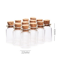 ingrosso bottiglie di bottiglie di vetro piccole-7ML Clear Small Cute Mini Cork Stopper Barattoli di vetro Contenitori Mini Wishing Bottle Glass Craft WB159