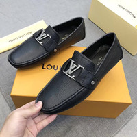 Wholesale dress peas for sale - Group buy High quality new designer mens dress shoes leather Metal snap Peas wedding Shoes Fashion Flats driving shoes High quality Original box
