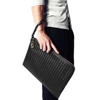 dokuma cüzdan toptan satış-Kişiselleştirilmiş Dokuma İngiltere Stil Pu Deri erkek Debriyaj Cüzdan Uzun El Çantası Fonksiyonel Deri Cüzdan Adam Fab Kadın Çantası