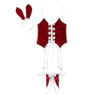 bunny kostüme frauen großhandel-Frauen Sexy Dessous Crochless Unterwäsche Set Velet Tanga Schwanz Paties Headwear Kaninchen Cosplay Uniform Bunny Kostüme